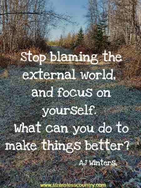 Stop blaming the external world, and focus on yourself. What can you do to make things better?